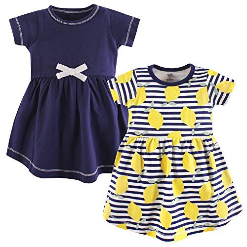 Touched by Nature Girls' Organic Cotton Short-Sleeve Dresses, Lemons, 12-18 Months