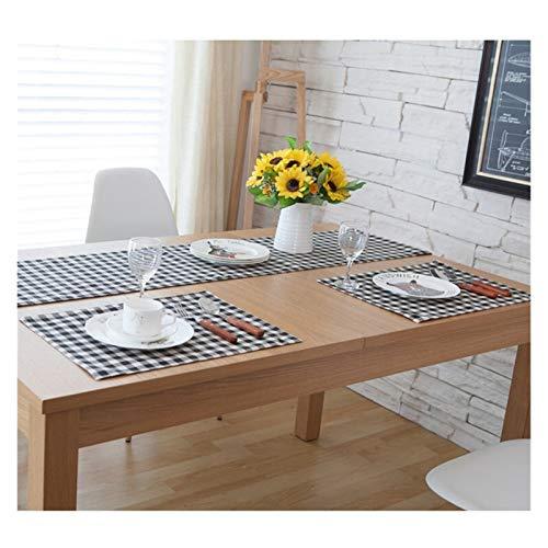 Sets de table Noir Plateau-Plaids Blanc Placements à carreaux De Table À Dîner Toile Coaster Isolant Coffe Thé Coupe Cuisine Tovaglietta pour table Napperons (Color : A, Taille : 32x45cm)