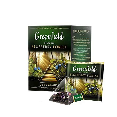 GREENFIELD BLUEBERRY FOREST | Aromatisierter Schwarzer Tee | Ceylon, Sri Lanka | Hibiskus, Malve, Blaubeere | Flavoured Black Tea | 20 Pyramiden | Pyramidbeutel (20 Teebeutel) | 36g