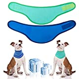 Pet Self Cooling Bandana for Dogs - 2 Pack Heat Dissipation Triangle Scarfs Kerchiefs for Hot Days & Summer