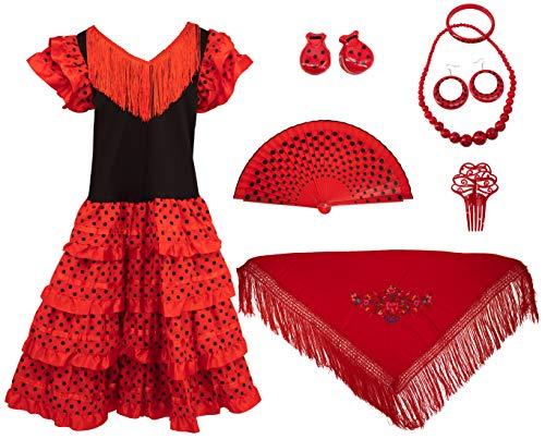 Gojoy Shop - Disfraz de sevillana flamenco para niña, contiene: vestido, mantón y accesorios. (3 colores y 5 tallas diferentes.) (ROJO, 6)