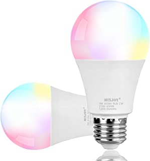 MIXJOY Smart Light Bulb, A19 9W LED RGBCW Color Changing, Dimmable Compatible with Alexa and Google Assistant, APP Remote Control (2pack)
