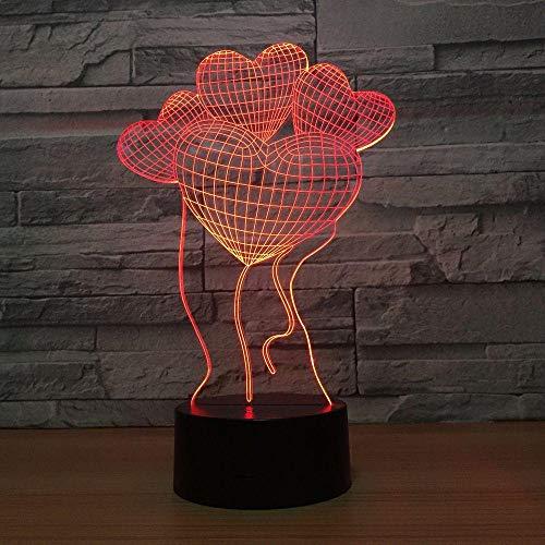 Lampe d'illusion 3D Led Night Light Heart Powered By Usb 7 Couleurs Incroyable Télécommande Optique Pour Enfants Dormir Pour Enfants Meilleurs Cadeaux