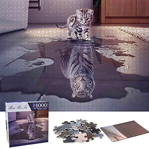 Puzzle Redondo 1000 Piezas,Puzzle,Rompecabezas Redondo,Puzzle Creativo,Puzzle Adultos (Gato)