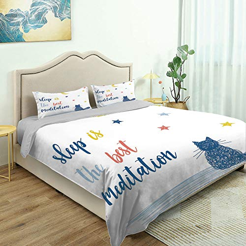 SUPNON 3 Piece Queen/King Size Bedroom Decor Cat Saying, Sleep is The Best Meditation Quilts Cover with 2 Pillow Cover for Children Teen Boy Adult Beding Set No14186 - Queen Size