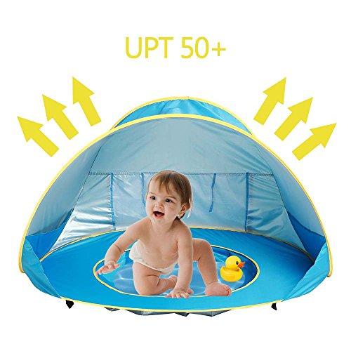 Laamei Tenda Spiaggia Tenda A Sdraio Poppiera Portatile A Tende Per Bambini, Tenda Da Protezione UV Ideale Per Viaggio In Spiaggia, Piscina (Blu)