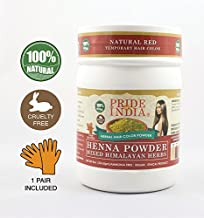 Pride Of India - Herbal Henna (Lawsonia Inermis) Hair Color Powder w/Gloves - Natural Red, Half Pound (8oz - 227gm) Jar - BUY ONE GET 50% OFF 2ND UNIT (Mix and Match - Promo AUTO APPLIES at Checkout
