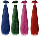 Dibiase EXTENSIONES de KERATINA en Cabello NATURAL 100% Remy LISO Fantasía - Paquete de 20 unidades - Largo 50/55 cm - Color fantasía Azul   Profesional Hair Extension