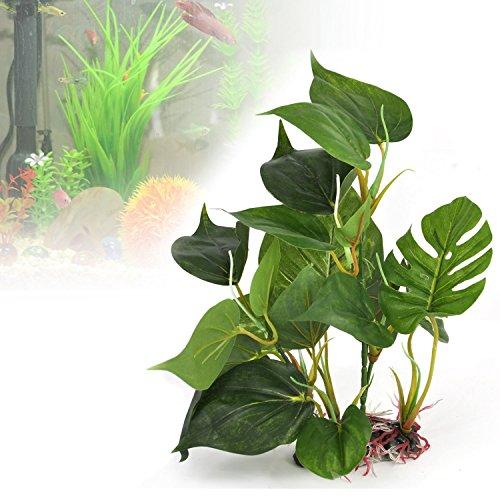 Txyk Aquarium Kunstpflanze künstliche Aquariumpflanze grüne echt aussehende Aquarium-Zierblätter Künstliche Wasserpflanze Kunststoff Deko Grün Giftlos 24 cm