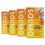 Marca Amazon - Solimo -  Bandas de cera faciales con extracto de caléndula y toallitas posdepilación (4x20)