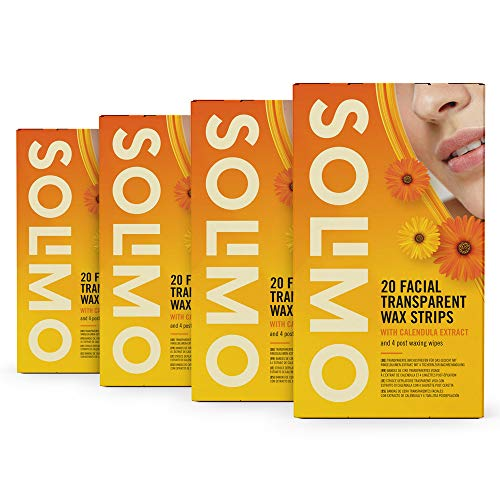 Amazon-Marke: Solimo transparente Wachsstreifen für das Gesicht mit Ringelblumen-Extrakt und 4 Post-Epilationstüchern (4 x 20 Wachsstreifen)