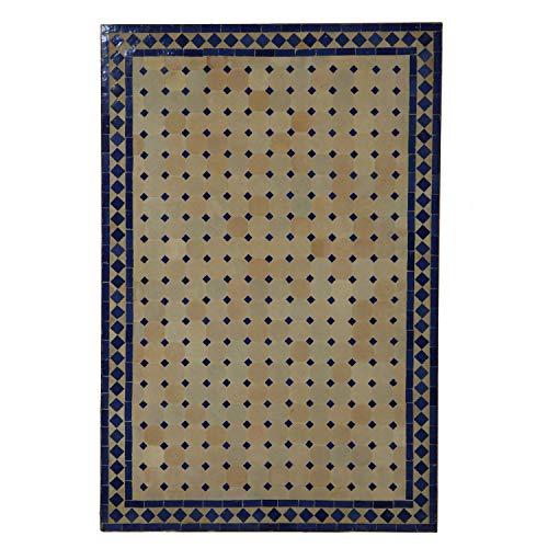 Casa Moro Marokkanischer Mosaiktisch 120x80 cm rechteckig blau terrakotta mit Gestell H 73 cm Dekorativer Gartentisch Esstisch Balkontisch Bistrotisch Kunsthandwerk aus Marrakesch MT2120