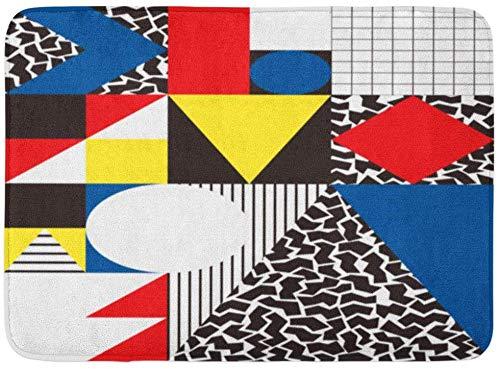 ECNM56B Fußmatten Bad Teppiche Fußmatte Bunte Bauhaus abstrakte geometrische in Retro Moderne Muster Kubismus 80 s 15,8
