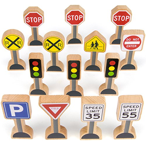 Wooden Street Signs for Train Sets, 14 Pc - Educational Playset Pieces for Kids, Boys, & Girls - Track Accessories for Tabletop Railroads, Car Mats, Blocks, Sand Boxes, & Indoor / Outdoor Pretend Play