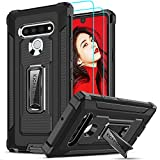LeYi Compatible for LG Stylo 6 Case with Tempered Glass Screen Protector[2Pack], Military-Grade Shockproof Kickstand Protective Phone Cover Case for LG Stylo 6,Black