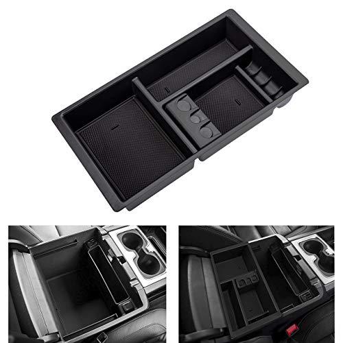AORRO Center Console Organizer for Chevy/Chevrolet Tahoe Suburban Silverado GMC Sierra Yukon 2015-2018 ABS Tray Armrest Box Secondary Storage Full Console w/Bucket Seats ONLY (Black)