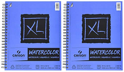 2-Pack Bundle - Canson XL Series Watercolor Paper - 9 x 12 inch - Textured, Cold Press - Side Wire Bound, 140 Pound, 30 Sheets Each