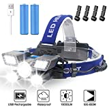 Headlamp Rechargeable,【21 LED】9 Modes Work Headlight Headlamp Flashlight with Red Strobe Light, USB Rechargeable Waterproof, with Clip for Outdoor Camping, Cycling Hunting