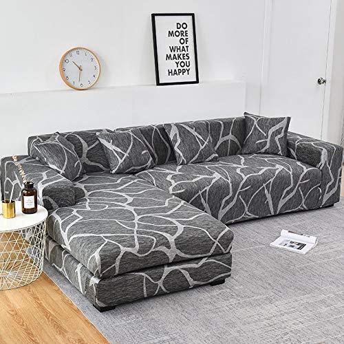 WXQY Sala de Estar en Forma de L elástico Todo Incluido Funda de sofá antiincrustante Funda de sofá de Esquina retráctil Chaise Longue A15 4 plazas