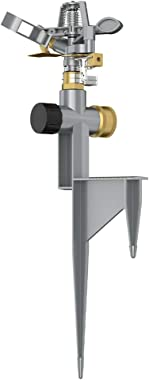 VLAY Zinc Pulsating Sprinkler with Metal Step Spike, Heavy Metal, Circular Spray Pattern Up to 85ft Diameter