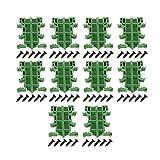 Shuny 10 Juegos PCB DIN C45 Carril Adaptador Soporte de Montaje en Placa de Circuito Soporte, Adaptador de Riel Placa de Circuito Soporte de Montaje Soporte Titular (Verde)