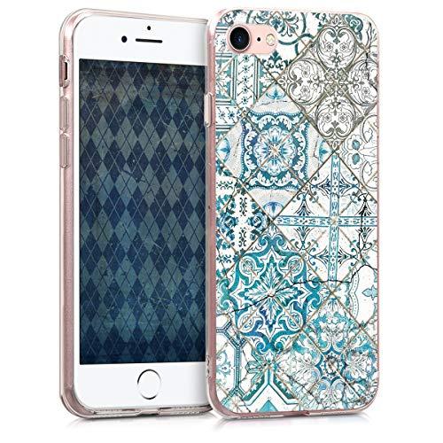 kwmobile Hülle kompatibel mit Apple iPhone 7/8 / SE (2020) - Handyhülle - Handy Case Marokkanische Fliesen Uni Blau Grau Weiß