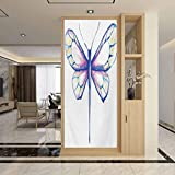 Glass Window Film No Glue Privacy Window Cling, Dragonfly Single Dragonfly Featured in Soft Color Fast, Home Window Tint Film Heat Control, W23.6 x H35.4 Inch