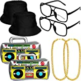 8 Pieces Hip Hop Costume Kit, Inflatable Boom Box Black Bucket Hat Sunglasses Gold Chain 80s/ 90s Rapper Accessories