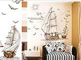 Vinilo decorativo Alquiler de veleros Casa Pintura decorativa Sala de estar Dormitorio Fondo Etiqueta de la pared 90 * 60 cm
