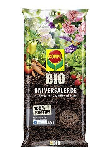 COMPO BIO Universal-Erde für Zimmerpflanzen, Gemüse, Obst und Kräuter, Torffrei, Kultursubstrat, 40 Liter, Braun