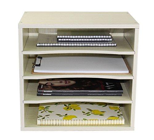 PAG Office Supplies Wood Desk Organizer Desktop File Mail Sorter with 3 Adjustable Drawer Boards,Black