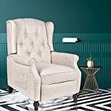 USSerenaY Tufted Wingback Recliner - Fabric Recliner with Heat and Massage - Push Back Recliner Armchair - Accent Upholstered Reclining Single Sofa Chair for Home, Living Room, Bedroom