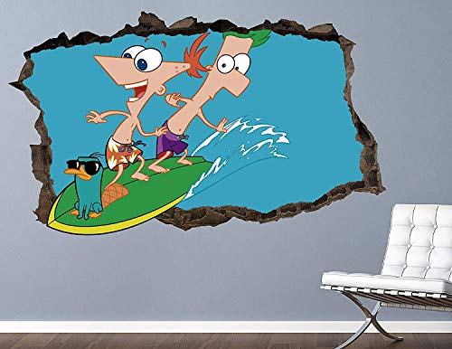 """Phineas and Ferb Surf Decal Sticker - Kids Wall Decal Decor - Art 3D Vinyl Wall Decal - AH500 (Small (Wide 22"""" x 12"""" Height))"""