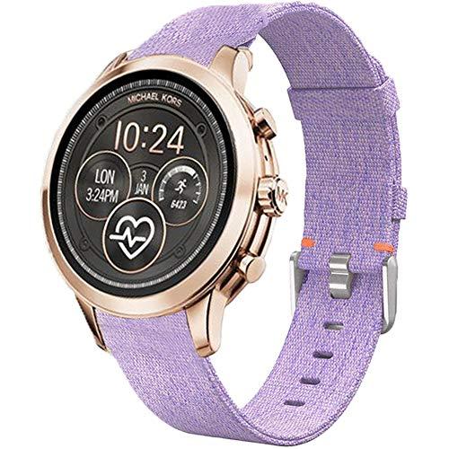 LvBu Armband Kompatibel für Michael Kors Runway, Nylon Strick Replacement Uhrenarmband für Michael Kors Access Runway Smartwatch (Lila)