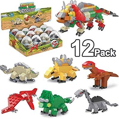 "12 Pack 3.1"" Large Toy Filled Easter Eggs Dinosaurs Building Blocks Transform Figures Toys for Kids Boys Gifts Easter Basket Stuffers, Easter Dinosaurs Party Favor,Easter Egg Hunt Classroom"