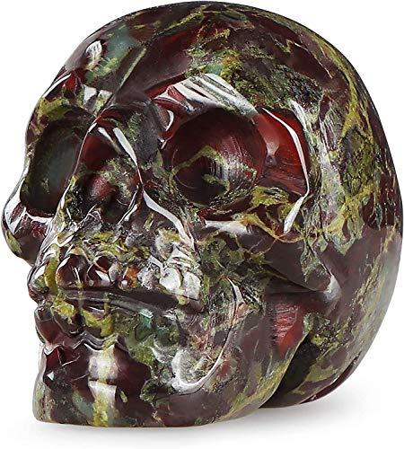 Artistone 2.0' Crystal Halloween Skull Decor Figurine,Hand Carved Human Skull Head Figure Sculpture Reiki Healing Stones for Personality Bar,Fireplace,Closet,Carnival Festival(Dragon Bloodstone)