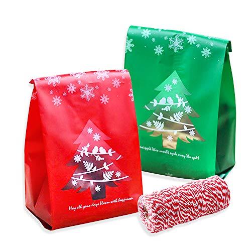 Tomkity 100pz Sacchetti di Caramelle Biscotto Natale Borsa di Regalo Biscotti con 100m Spago Rosso e Bianco Albero di Natale per Natale