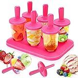 Moldes Helados, 6 Mini Moldes para Hacer para Ice Cream Mold Reutilizable Sin BPA Pop Mold Popsicle DIY Helado Zumo Batido Yogur, Rosado