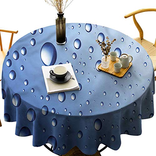 Waterproof Tablecloth Polyester Decorative Round Table Top Cover Close Up Raindrops Aquatic Diameter 70 inch for Kitchen Dining Room End Table Protection, Square/Round