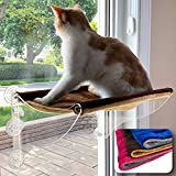 Lazy Lion Multi-use Cat Window Hammock, Cat Window Perch. Offers 2 Stylish Colors. Mounts on Windows and Walls. (Medium, Brown-Beige)