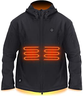 Men's Heated Jacket Hoodies Waterproof Soft Shell with USB Rechargeable Battery Pack for Winter Outdoor Skiing Hiking