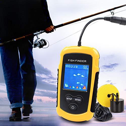 JSX Portable Fish Finder, Water Depth & Temperature Fishfinder with Wired Sonar Sensor Transducer Fish Finders