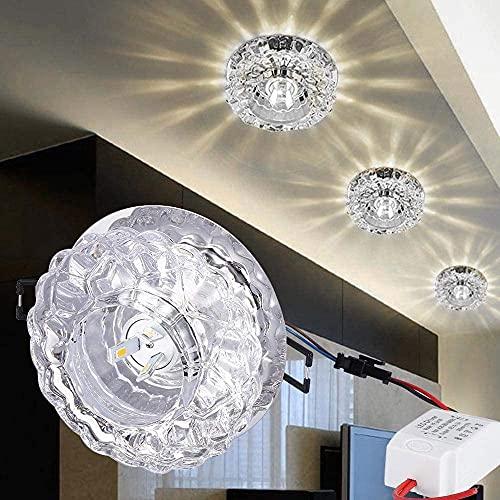 5W Crystal LED Downlight, kit de fijación de iluminación de techo empotrable, downlighters de vidrio redondo con conductor, sala de estar Dormitorio de la sala de montaje decorativo de montaje en el t
