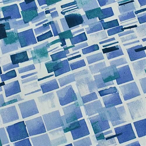 Blue/Multi Annie Selke Tiled Print Basketweave Decor Fabric, Fabric by The Yard