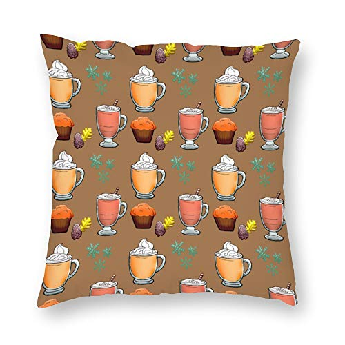 YY-one Decorative Pillow Covers Cocoa Coffee Muffin Cosy Hygge Time Brown Throw Pillow Case Cushion Cover Home Decor,Square 20 X 20 Inches