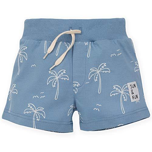 Pinokio - Sun & Fun - Korte Broek Baby Jongens Meisjes Unisex Shorts 100% Katoen Blauw met Palmbomen Zomer 68-104 cm