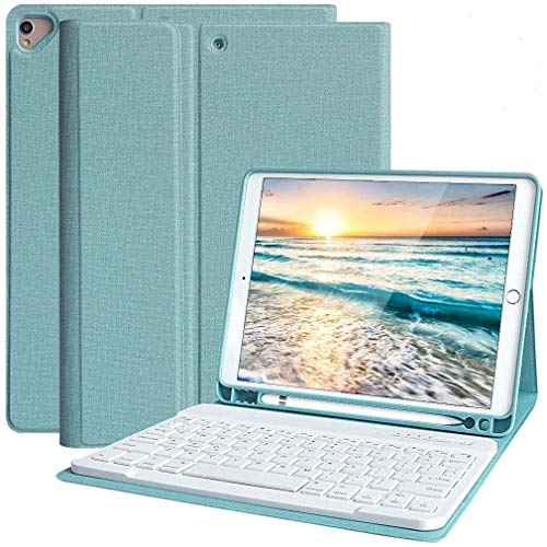 IPad 10.2 7th Generation 2019 Keyboard Case with Pencil Holder, Magnetically DetachableBluetooth Keyboard Case for iPad Air 3 10.5 2019/iPad Pro 10.5 2017 (Lake blue)
