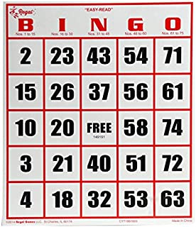 Regal Games Easy Read Jumbo Bingo Cards, 50 Pack, White