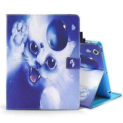 MoEvn iPad 2 Hülle,iPad 3/4 Tasche,Magnetverschluss Flip HandyHülle Stil PU Leder Schutz Hülle Premium Geldbeutel Schale Kunstleder mit Standfunktion Case für iPad 2/3 / 4,Nette Katze