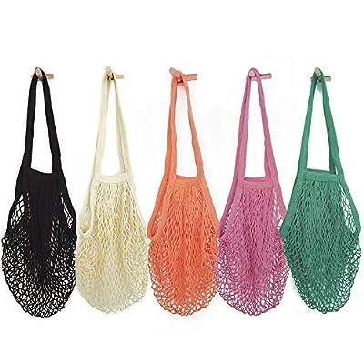 Pack of 5 Portable/Reusable/Washable Cotton Mesh String Organic Organizer Shopping Handbag Long Handle Net Tote (Grey Blue/Black/Beige/Pink/Purple)